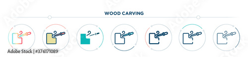 Fotomural wood carving icon designed in gradient, filled, two color, thin line and outline style