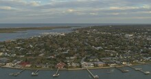 St Augustine Florida Aerial V8 180 Degree Aerial Over The Matanzas River - DJI Inspire 2, X7, 6k - March 2020