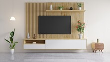 TV Is Mounted On A Wooden Wall, With A Vase And Books On The Shelf, And A Flower Pot And A Side Table In The Living Room.3D Rendering.