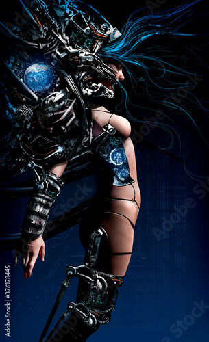 Canvastavla The cyborg girl, hung with many wires and man-made devices, screams in pain and madness, she has a beautiful smooth body with technical seams here and there