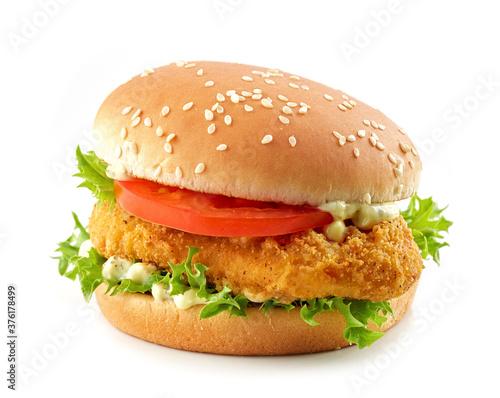 Fototapeta burger with fried chicken obraz