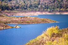 Island And Lake Landscape On Mountain View Nature Tropical Outdoor Background  At Mae Kuang Udom Thara Dam , Chiang Mai Of Thailand