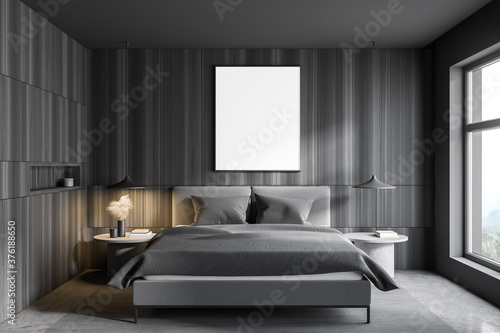 Gray and wooden bedroom interior with poster - 376188650