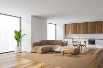 White kitchen and living room corner
