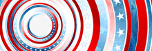USA Colors, Stars And Round Stripes Abstract Grunge Banner Design. Independence Day Modern Background. Concept American Flag. Vector Illustration