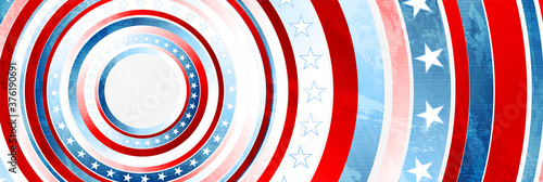 Obraz na plátně USA colors, stars and round stripes abstract grunge banner design