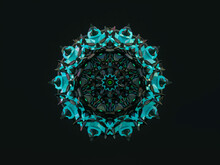 Abstract 3d Geometric Crystal Mandala Flower With Neon Light. Faceted Gem, Winter Snowflake.