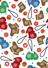 Vector Pattern With Colorful Mittens, Felt Boots And Christmas Balls. Winter Illustration. Design For Fabrics, Packaging, Cards, Posters, Banners, Print And Web.