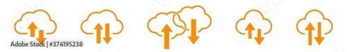 Papel de parede Cloud Upload Download Icon Orange   Clouds Arrow Up Down Illustration   Computin