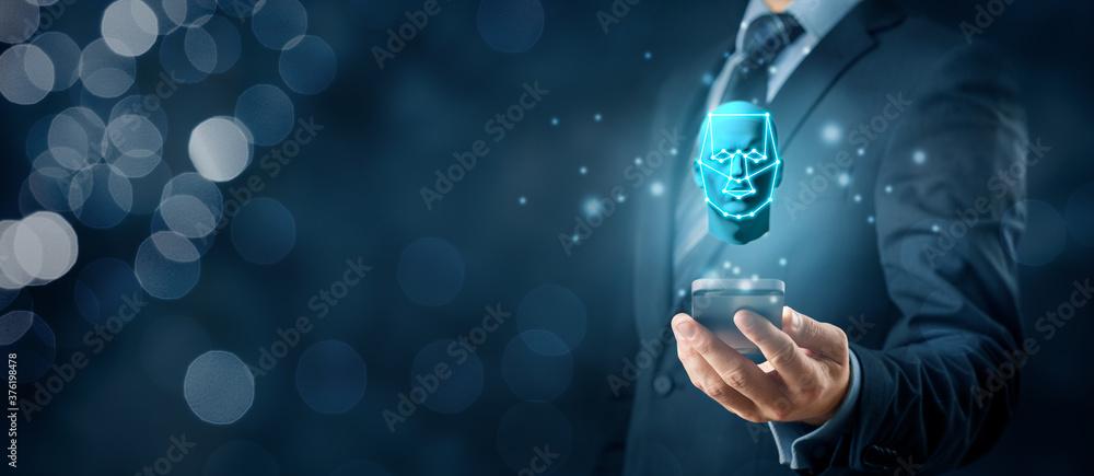 Fototapeta Face identification smart phone unlock