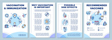 Vaccination And Immunization Brochure Template. Disease Protection Flyer, Booklet, Leaflet Print, Cover Design With Linear Icons. Vector Layouts For Magazines, Annual Reports, Advertising Posters