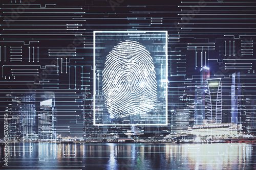 Fotografía Double exposure of finger print hologram and cityscape background