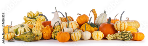 Many pumpkins isolated on white Wallpaper Mural
