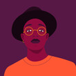 Portrait of a young African man in a hat and glasses. Self-confidence. Vector flat Illustration