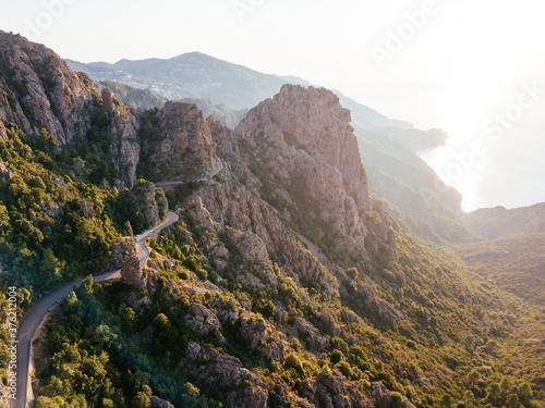 "Foto ""Calanques de Piana"" badlands and scenic road on the sea, Corse, France"