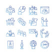 bundle of sixteen coworking set collection gradient style icons