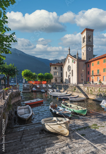 Fototapeta View of picturesque village on Lake Como, Torno, Lombardy, Italy