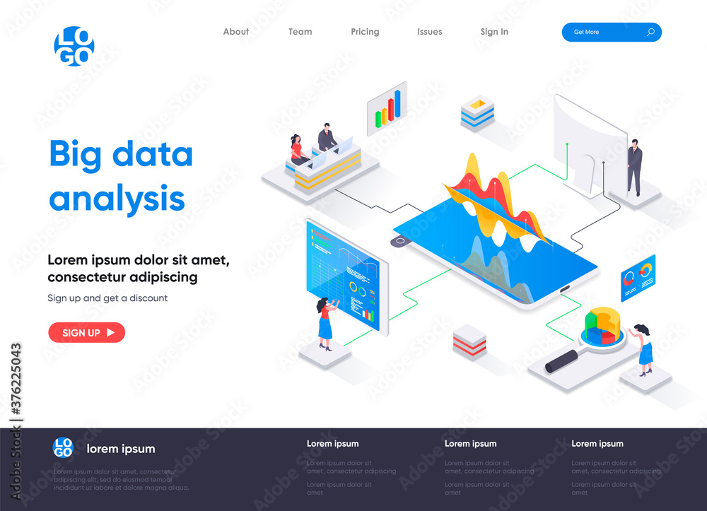 Fototapeta Big data analysis isometric landing page. Analytics and business intelligence isometry concept. Online analysis tools, software development company web page. Vector illustration with people characters