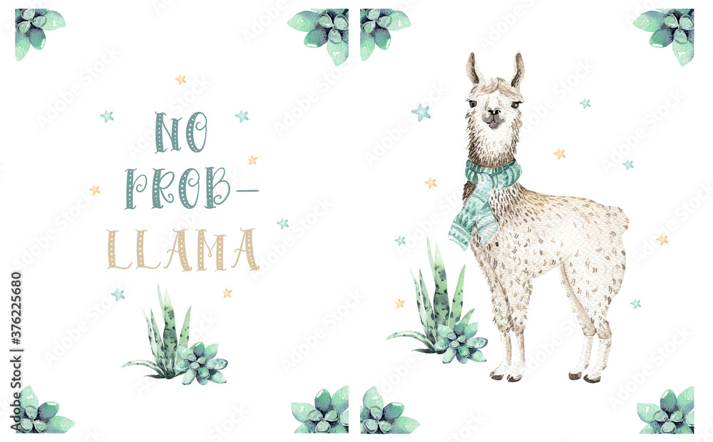 Cute watercolor llama, alpaca illustration isolated on white. Llama print ethnic blanket, flowers wreath, floral bouquet and boho mexican decoration