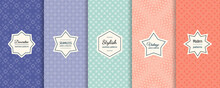 Vector Geometric Seamless Patterns. Collection Of Colorful Background Swatches With Elegant Minimal Labels.  Cute Abstract Floral Textures. Subtle Modern Design. Blue, Turquoise, Pink, Orange Color