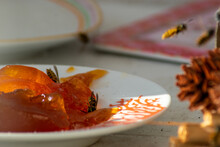Wespen Bienen Essen Am Tisch Und Extrem Viele Wie Eine Plage