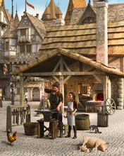 Blacksmith At Work Outside His Shop In A Medieval European Town