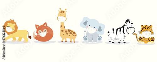Naklejka premium Kolekcja ślicznych zwierząt z lwem, żyrafą, lisem, zebrą, słoniem, maską lamparta. Ilustracja wektorowa w celu zapobiegania rozprzestrzenianiu się bakterii, koronwirusów