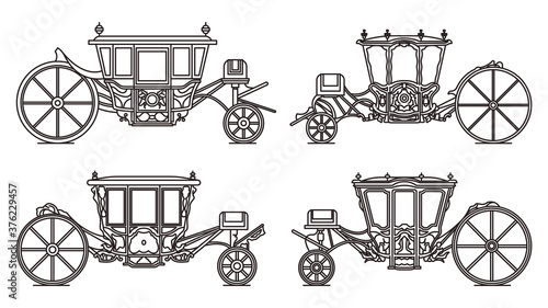 Outline medieval royal carriage icons, retro coach Wallpaper Mural