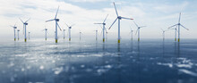 Offshore Wind Power And Energy Farm With Many Wind Turbines On The Ocean