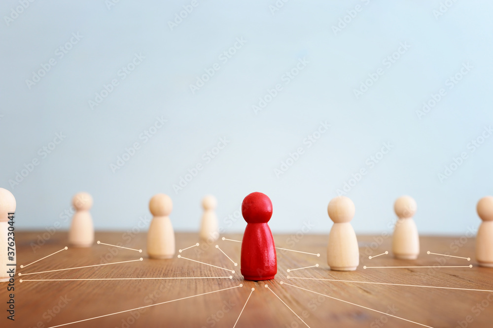 Fototapeta business concept image of people figures over wooden table, human resources and management