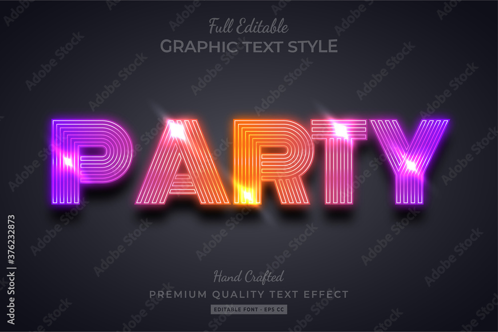 Fototapeta Gradient Party 3d Text Style Effect Premium