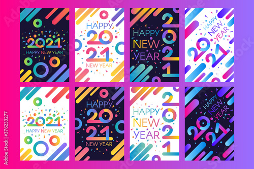 Fototapeta Stylish happy new 2021 year template obraz