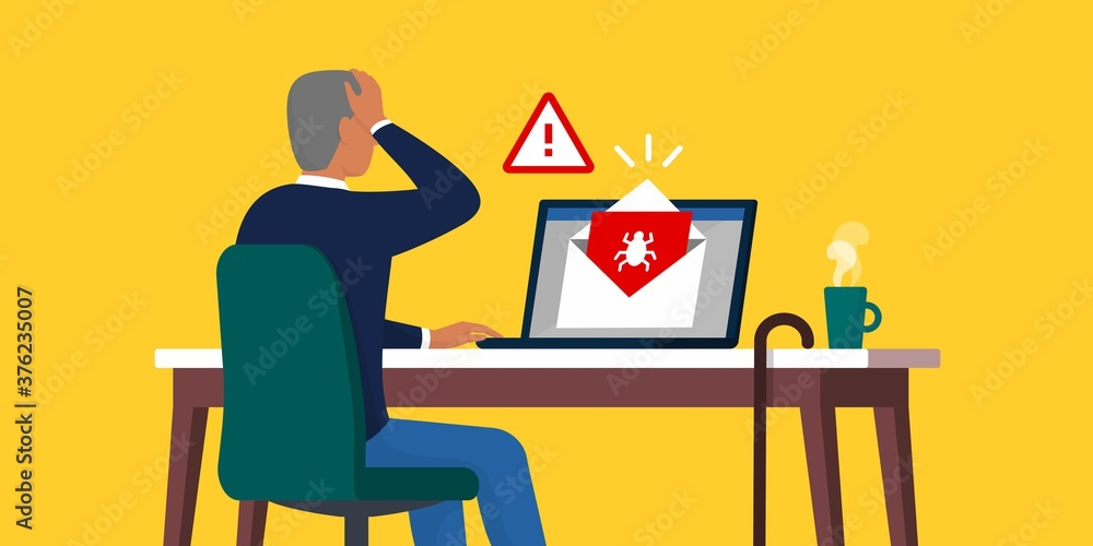 Fototapeta Senior opening an infected e-mail containing a virus