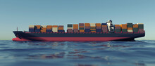 Cargo Container Ship At The Se...