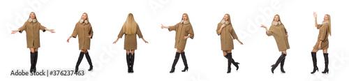 Fényképezés Blond hair girl in coat isolated on white