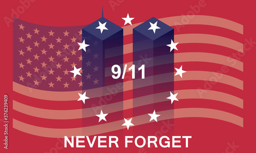 Patriot day USA vector concept. Never forget September 11, 2001. Wallpaper Mural