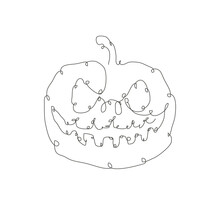 Hand Drawn Pumpkin Continuous ...