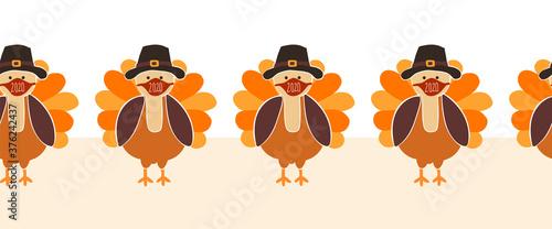Thanksgiving Turkey wearing a face mask Seamless Vector Border. Turkeys wearing Coronavirus pattern design. Covid 19 virus autumn art for Holiday 2020 decoration, invitation, greeting cards, face mask