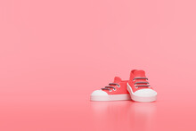 Creative Red Shoe On Gradient Background, 3d Rendering.