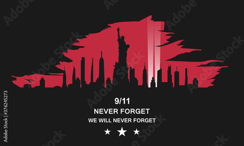 Patriot day USA vector concept. Never forget September 11, 2001. Canvas Print