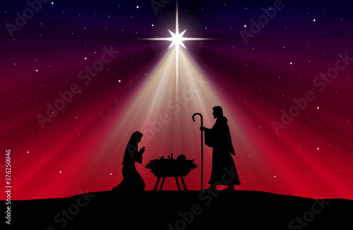 Christmas Nativity Scene background Slika na platnu