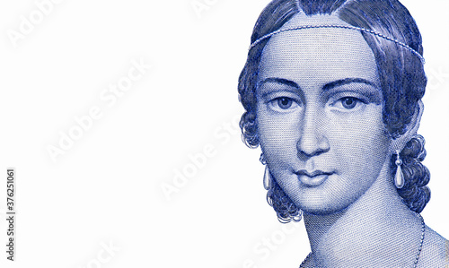 Photo Clara Schumann, German musician and composer, from a lithograph by Andreas Staub, an Austrian watercolour painter and lithographer
