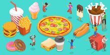 3D Isometric Flat Vector Conceptual Illustration Of Fast Food, People Are Rejoicing Next To Food Like Hot Dog, Ice Drink, Burger, Donut, Ice Cream, Pizza, French Fries, Fried Chicken.