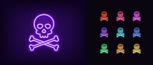 Neon Jolly Roger Icon. Glowing Neon Skull With Crossbones, Skeleton Head