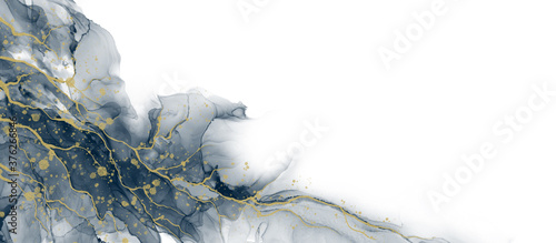 Fotografia, Obraz Abstract fluid art painting background alcohol ink technique deep blue and gold with text space for banner, background in luxury style