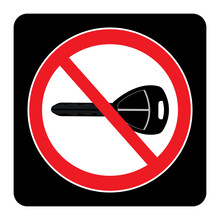 Turn Off Engine Icon On Black Background Drawing By Illustration. No Key Sign
