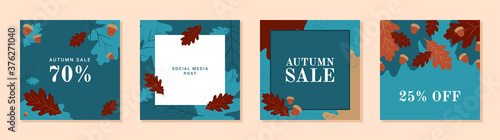 Fotografía Set of autumn theme templates for social media, mobile apps, banners, ads