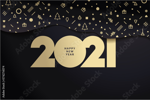 Obraz Happy New Year 2021. Modern vector illustration concept for background, greeting card, website and mobile website banner, party invitation card, social media banner, marketing material. - fototapety do salonu