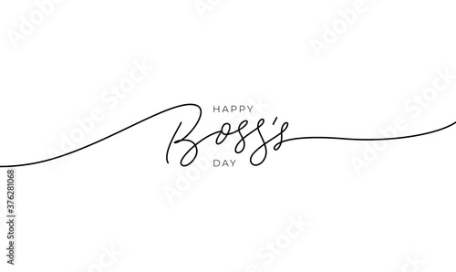 Valokuva Happy Boss's day vector line calligraphy