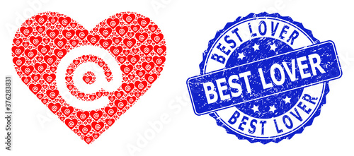 Scratched Best Lover Round Stamp and Recursive Dating Heart Address Icon Collage Canvas Print
